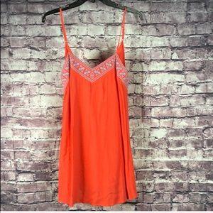 En Creme orange spaghetti strap mini dress